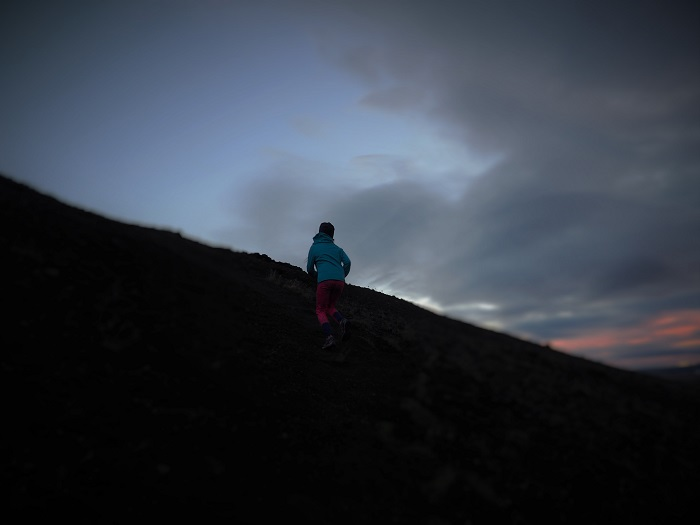 trail running in iceland with kids children